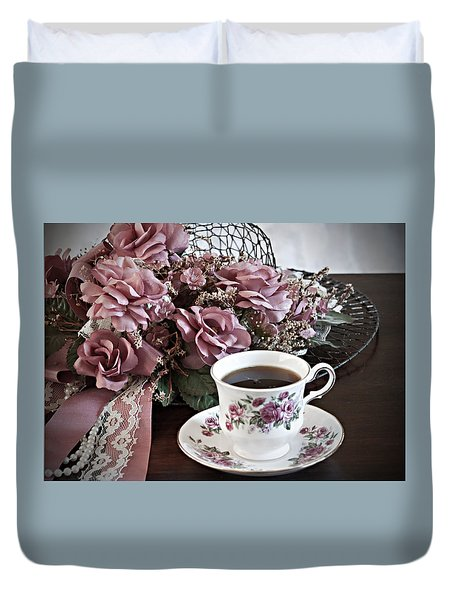 Ladies Tea Time Duvet Cover by Sherry Hallemeier