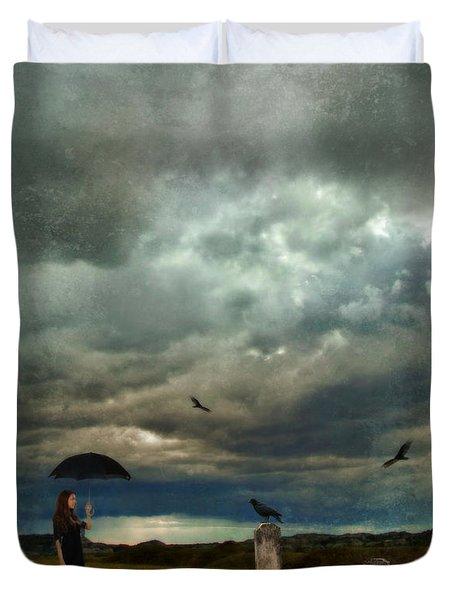 Lady In Graveyard Duvet Cover by Jill Battaglia
