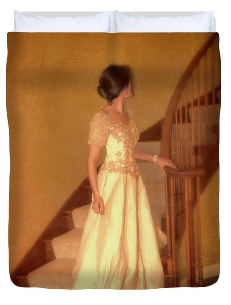 Lady In Lace Gown On Staircase Duvet Cover by Jill Battaglia