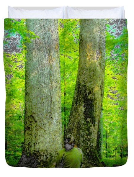 Lady In The Woods Duvet Cover by David Lee Thompson