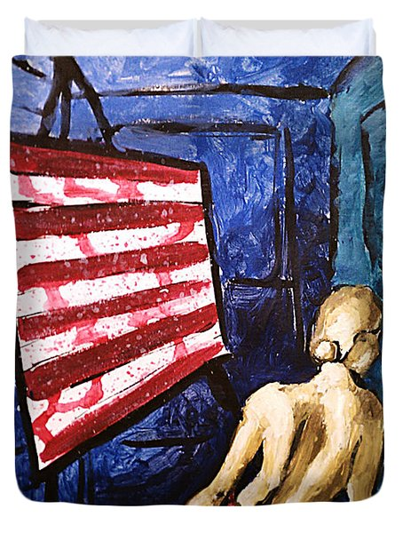 Lady Liberty Female Flag Figure Painting In Red Green Blue And Yellow Duvet Cover