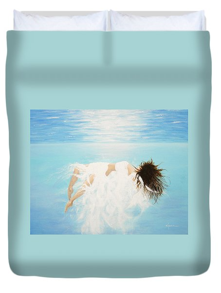 Duvet Cover featuring the painting Lady Of The Water by Kume Bryant