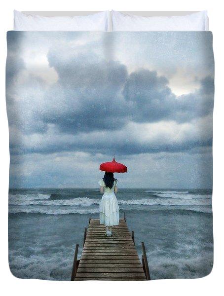 Lady On Dock In Storm Duvet Cover by Jill Battaglia