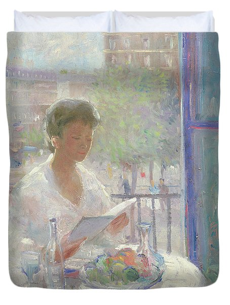 Lady Reading At An Open Window  Duvet Cover