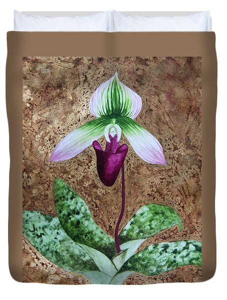 Lady Slipper Orchid With Gold Leaf Background Duvet Cover by Kerri Ligatich