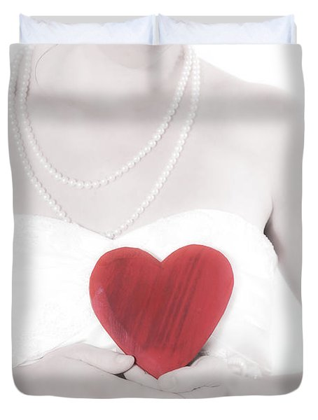 Lady With A Heart Duvet Cover by Joana Kruse