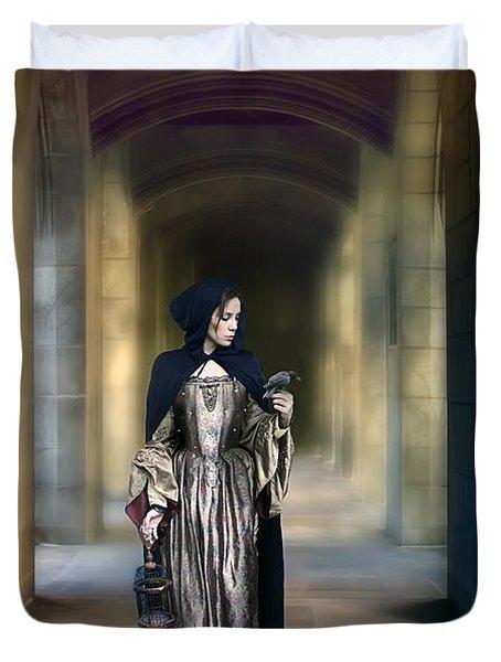 Lady With Bird Duvet Cover by Jill Battaglia