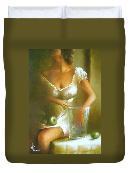 Lady With Green Apples Duvet Cover