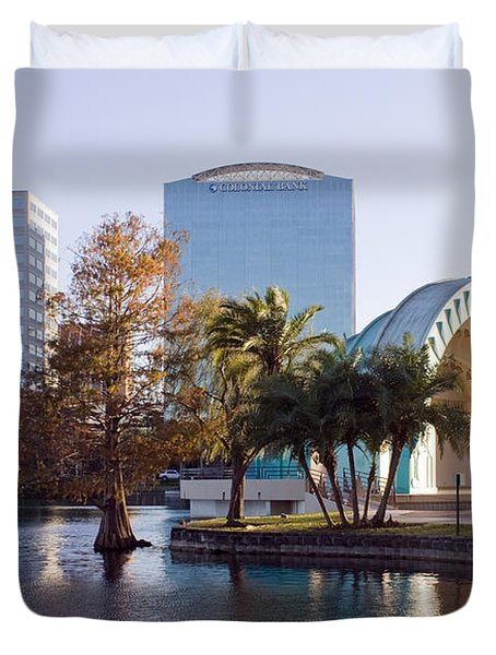 Duvet Cover featuring the photograph Lake Eola's  Classical Revival Amphitheater by Lynn Palmer
