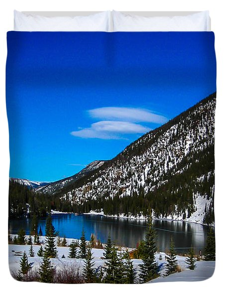Duvet Cover featuring the photograph Lake In The Mountains by Shannon Harrington