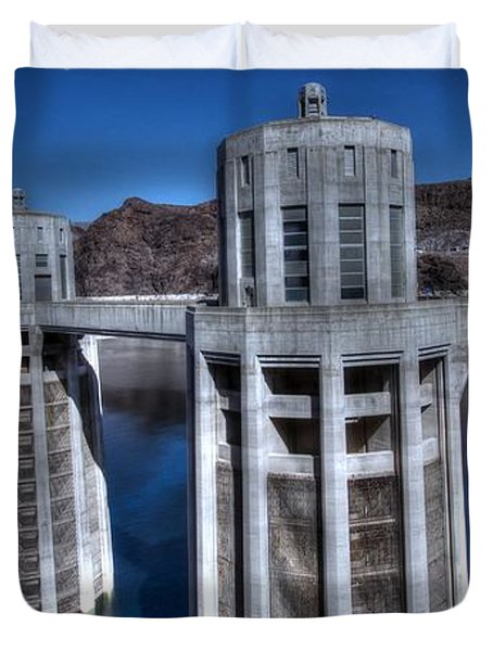 Duvet Cover featuring the photograph Lake Mead Hoover Dam by Jonathan Davison
