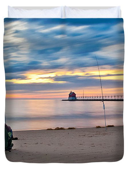 Lake Michigan Fishing Duvet Cover