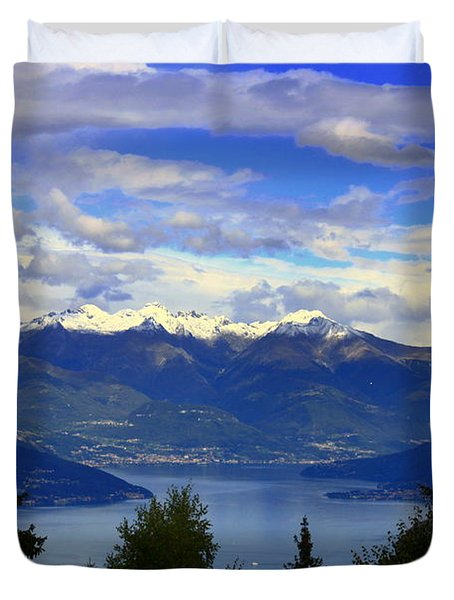 Lake Of Como View Duvet Cover