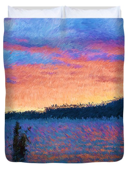 Lake Quinault Sunset - Impressionism Duvet Cover by Heidi Smith
