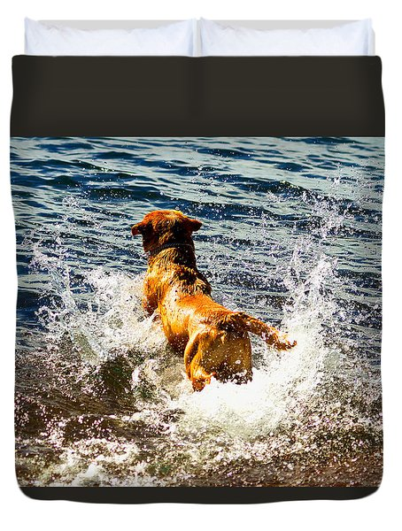 Lake Superior Puppy 2 Duvet Cover