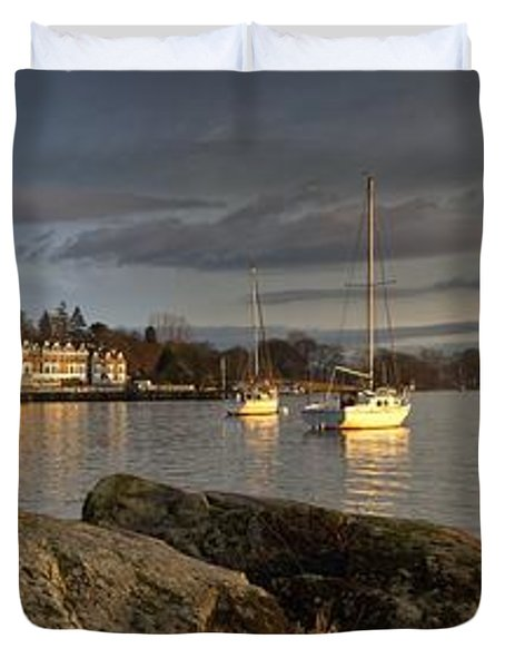 Duvet Cover featuring the photograph Lake Windermere Ambleside, Cumbria by John Short