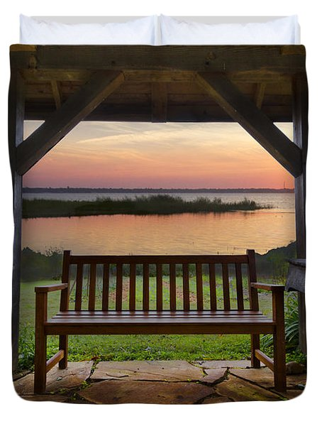 Lakeside Serenity Duvet Cover by Debra and Dave Vanderlaan