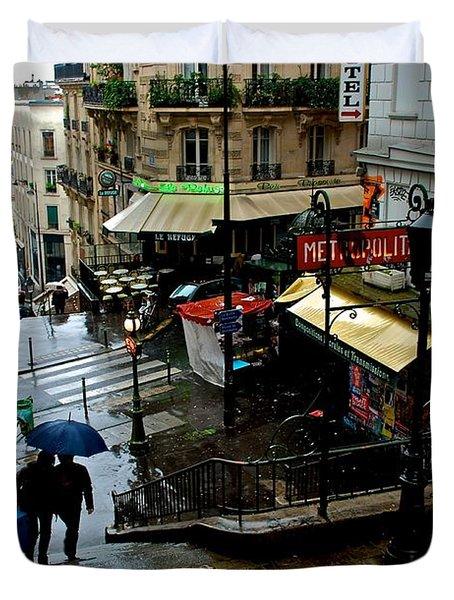Lamarck-caulaincourt Metro Stop Duvet Cover
