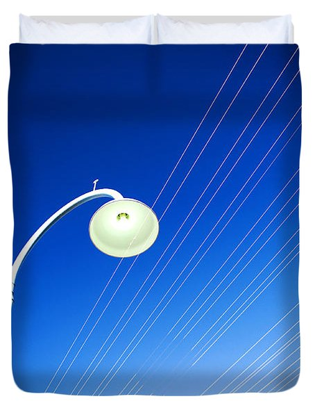 Lamp Post And Cables Duvet Cover by Yew Kwang