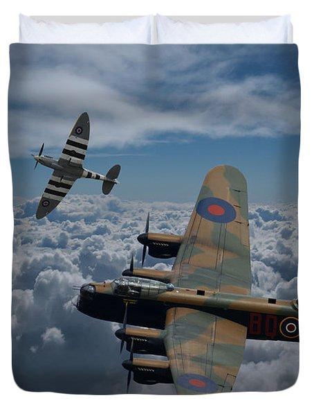Lancaster Bomber And Spitfires Duvet Cover by Ken Brannen