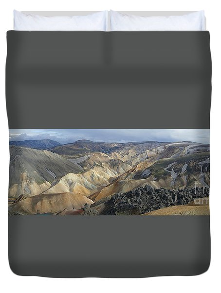 Landmannalaugar Panorama 1 Duvet Cover by Rudi Prott