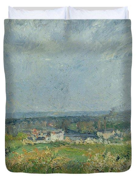 Landscape In Pontoise Duvet Cover by Camille Pissarro