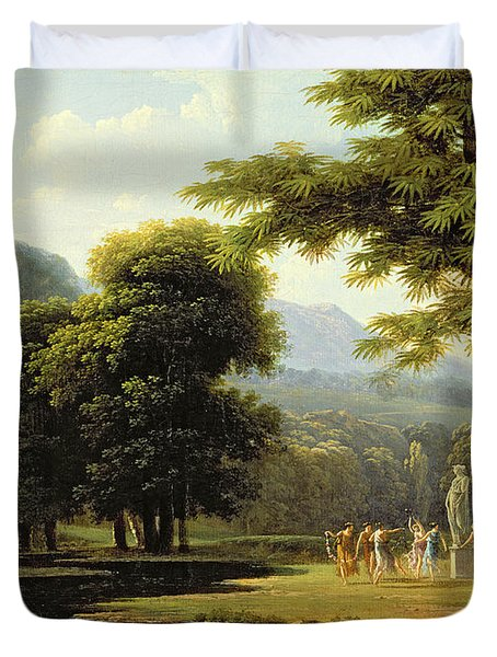 Landscape Duvet Cover by Jean Victor Bertin