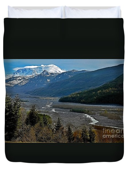 Duvet Cover featuring the photograph Landscape Of Mount St. Helens Volcano Washington State Art Prints by Valerie Garner