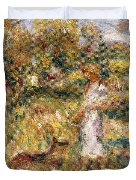 Landscape With A Woman In Blue Duvet Cover by Pierre Auguste Renoir