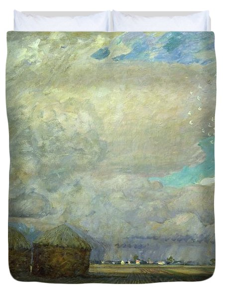 Landscape With Huts Duvet Cover by Leopold Karl Walter von Kalckreuth