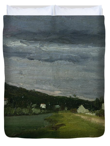 Landscape With Stormy Sky Duvet Cover by Camille Pissarro