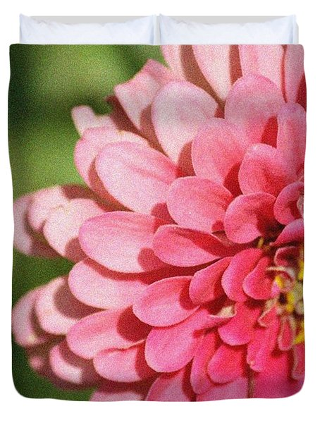 Duvet Cover featuring the photograph Large Pink Zinnia by Donna  Smith