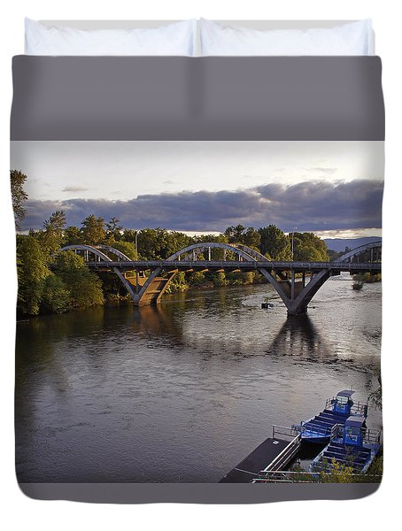 Last Light On Caveman Bridge Duvet Cover by Mick Anderson