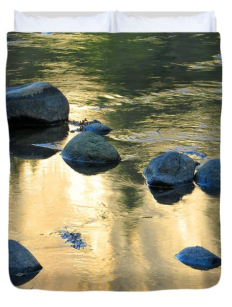 Late Afternoon Reflections In Merced River In Yosemite Valley Duvet Cover by Greg Matchick