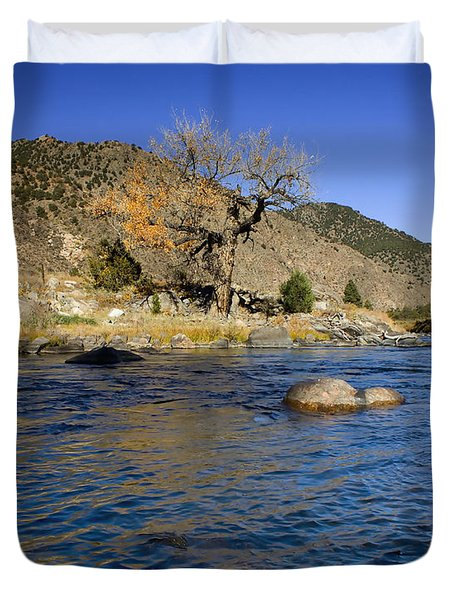 Late Autumn At The Arkansas Duvet Cover by Ellen Heaverlo