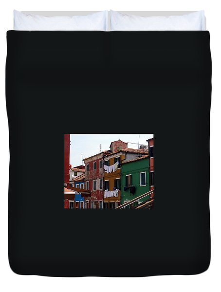 Laundry Day In Burano Duvet Cover by Carla Parris