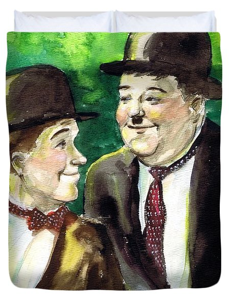 Laurel And Hardy Duvet Cover by Mel Thompson