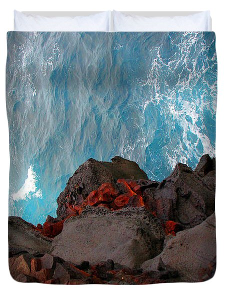 Lava Rocks And Ocean Water Duvet Cover by Jennifer Bright