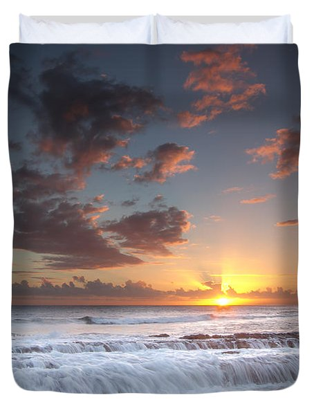 Lava Shelf Waterfall Duvet Cover by Roger Mullenhour