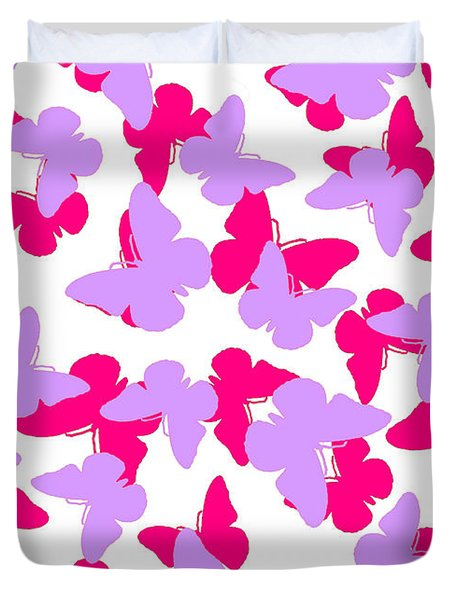 Layered Butterflies  Duvet Cover by Louisa Knight