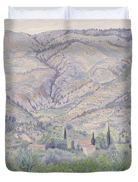 Le Ragas Near Toulon Duvet Cover by Camille Pissarro