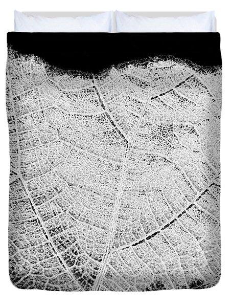 Leaf Design- Black And White Duvet Cover by Will Borden