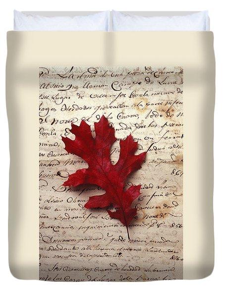 Leaf On Letter Duvet Cover by Garry Gay