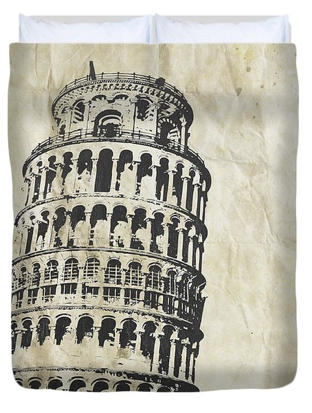 Leaning Tower Of Pisa On Old Paper Duvet Cover by Setsiri Silapasuwanchai