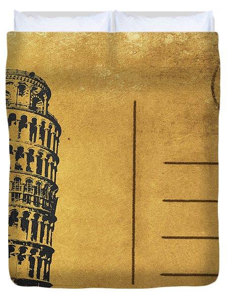 Leaning Tower Of Pisa Postcard Duvet Cover by Setsiri Silapasuwanchai