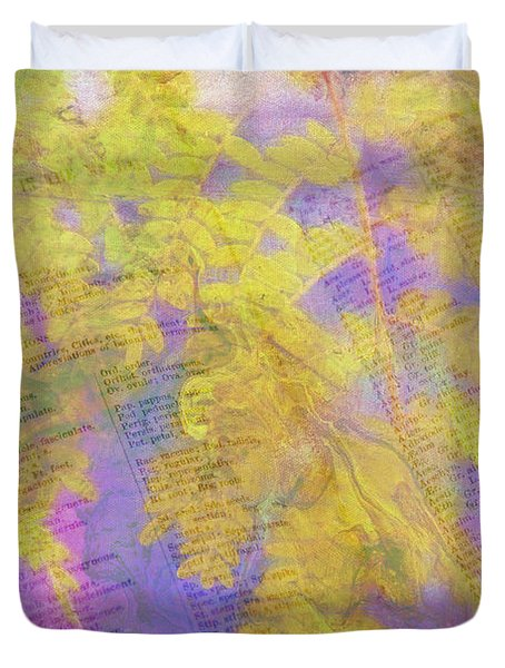 Leaves . . . Trees And Books Duvet Cover by Judi Bagwell