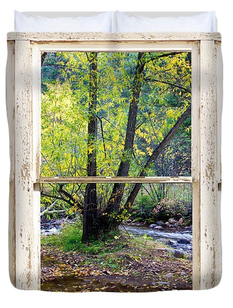 Left Hand Creek Rustic Window View Colorado Duvet Cover by James BO  Insogna