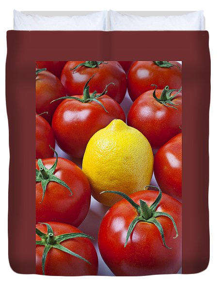 Lemon And Tomatoes Duvet Cover by Garry Gay