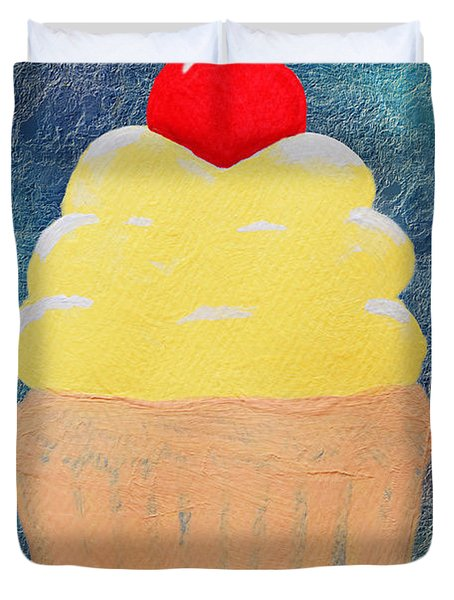 Lemon Cupcake With A Cherry On Top Duvet Cover by Andee Design