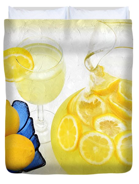 Lemonade And Summertime Duvet Cover by Andee Design